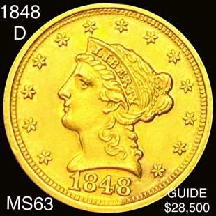 1848-D $2.50 Gold Quarter Eagle CHOICE BU
