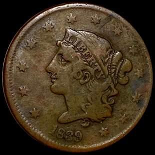 1839 Coronet Head Large Cent NICE CIRC BOOBY HEAD