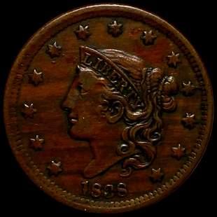 1838 Coronet Head Large Cent NEARLY UNC BOOBY HEAD