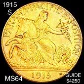 1915-S Pan Pac $2.50 Quarter Eagle UNCIRCULATED