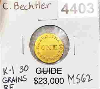 Carolina Bechtler Gold Dollar UNC K-1 30 GRAINS RF