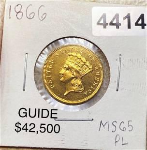1866 $3 Gold Piece GEM BU PL