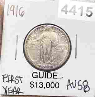 1916 Standing LIberty Quarter CHOICE AU