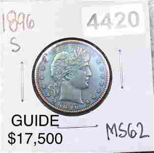 1896-S Barber Silver Quarter UNCIRCULATED