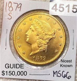 1879-S $20 Gold Double Eagle SUPERB GEM BU