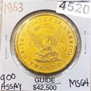 1853 $20 Gold Double Eagle CHOICE AU 900 THOUS