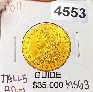 1811 $5 Gold Half Eagle CHOICE BU TALL 5 BD-1