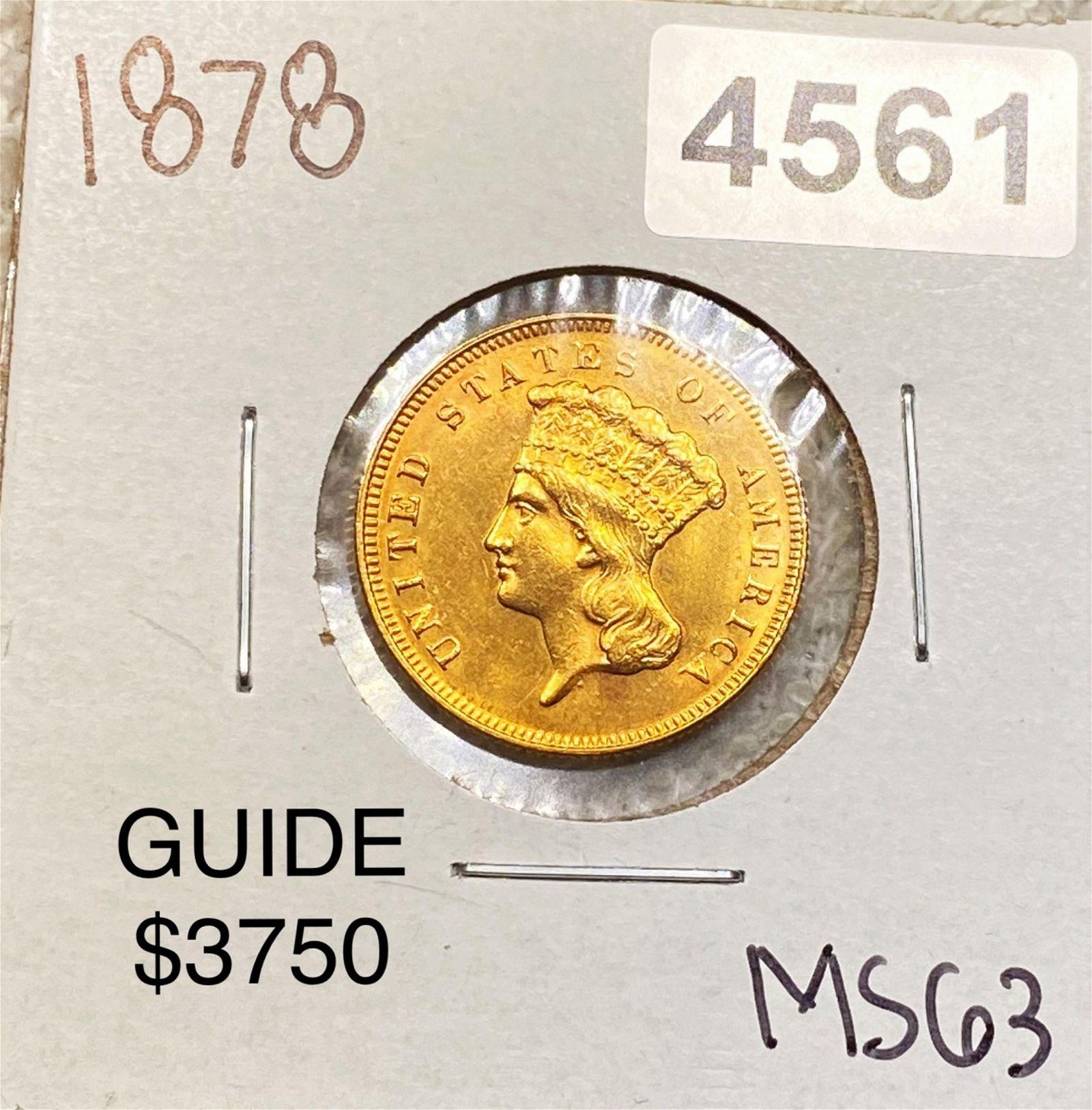 1878 $3 Gold Piece CHOICE BU