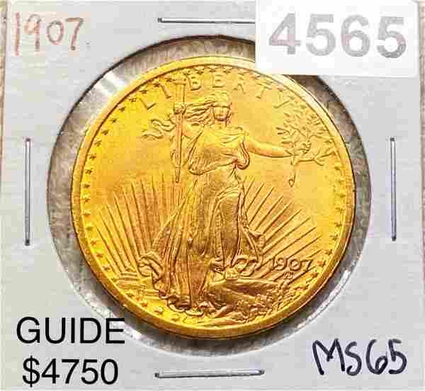 1907 $20 Gold Double Eagle GEM BU