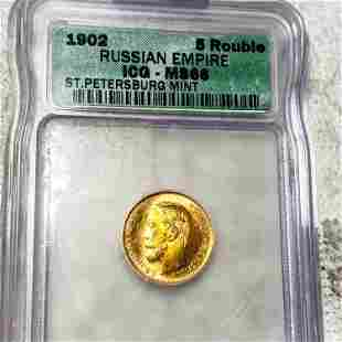 1902 Russian Gold 5 Rouble ICG - MS66