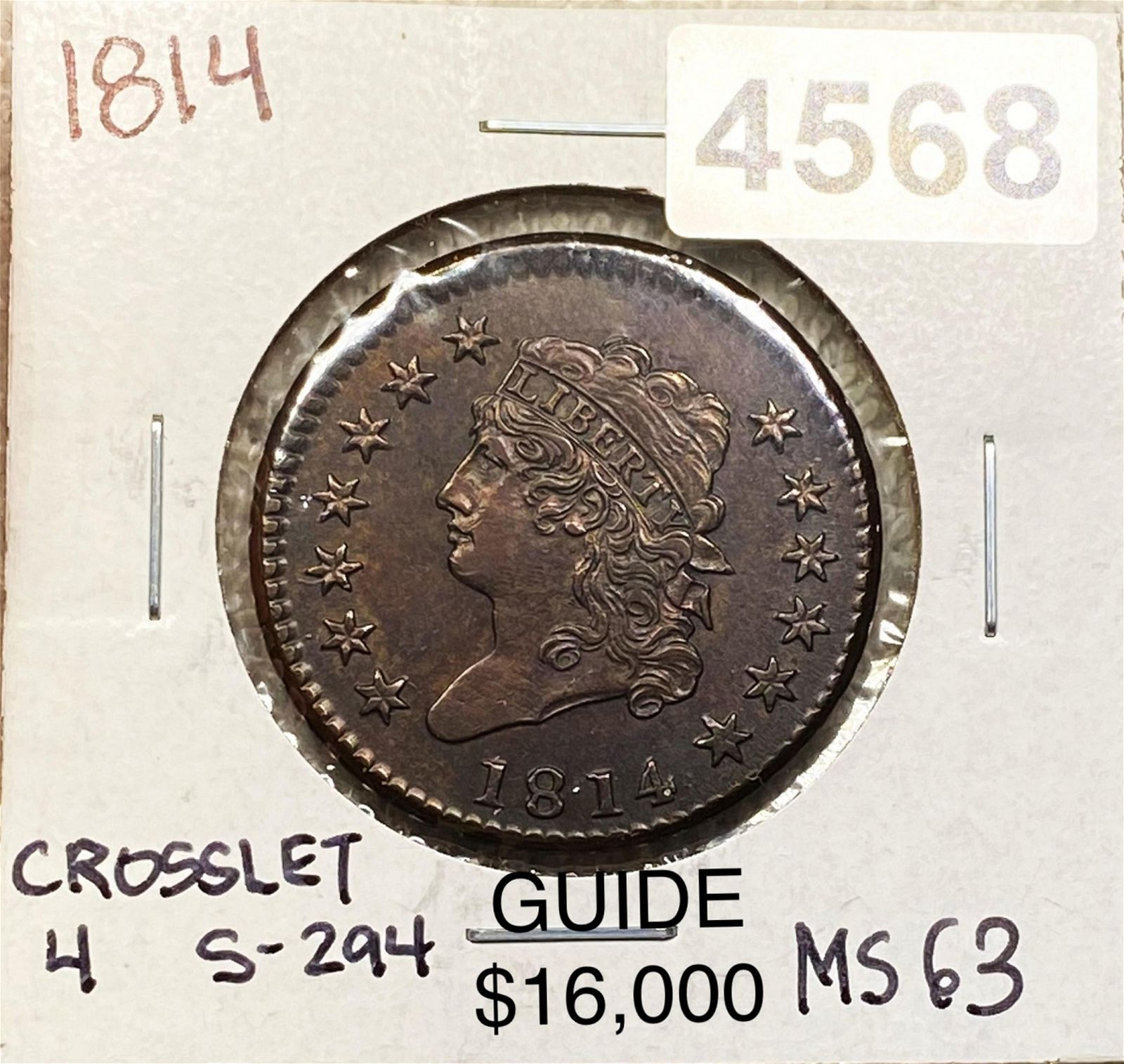 1814 Classic Head Large Cent CHOICE BU CROSSLET 4