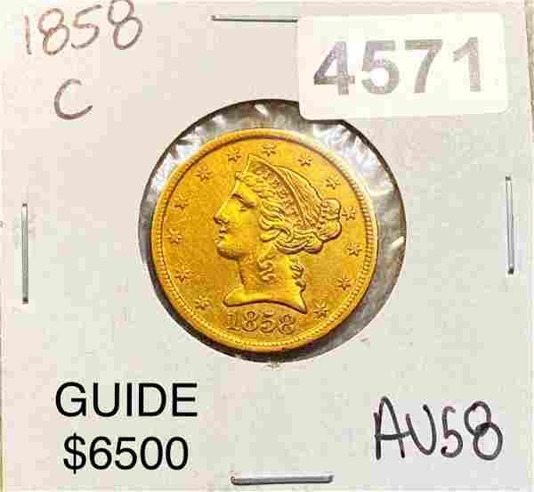 1858-S $5 Gold Half Eagle CHOICE AU