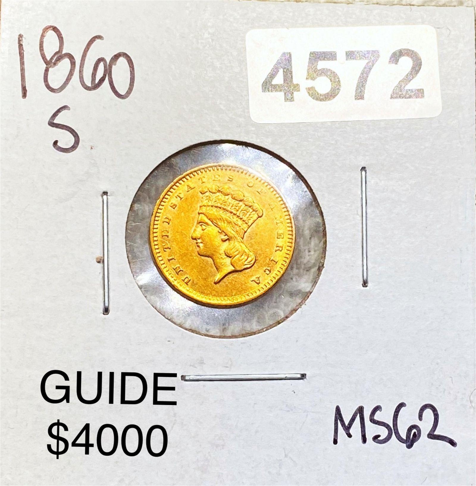 1860-S Rare Gold Dollar UNCIRCULATED
