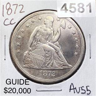 1872-CC Seated Liberty Dollar CHOICE AU