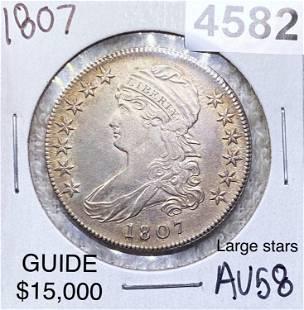 1807 Capped Bust Half Dollar CHOICE AU LRG STRS