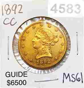 1892-CC $10 Gold Eagle UNCIRCULATED