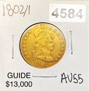 1802/1 $5 Gold Half Eagle CHOICE AU