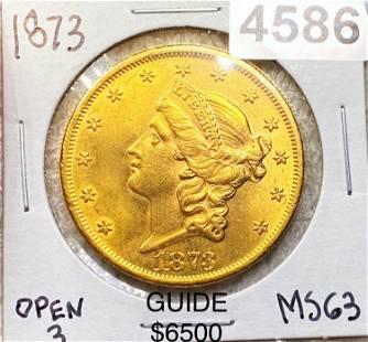 1873 $20 Gold Double Eagle CHOICE BU OPEN 3