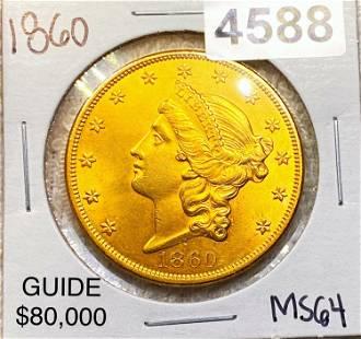 1860 $20 Gold Double Eagle CHOICE BU