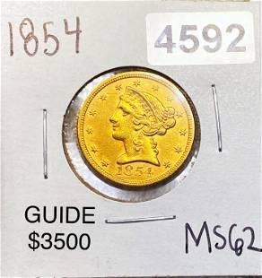 1854 $5 Gold Half Eagle UNCIRCULATED