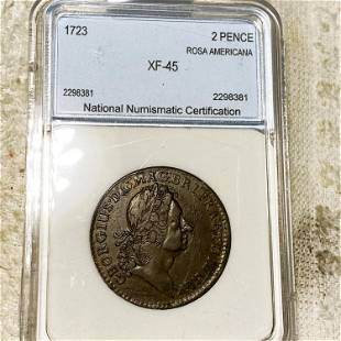 1723 Rosa Americana 2 Pence NNC - XF45