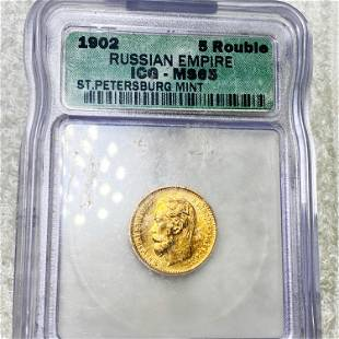 1902 Russian Gold 5 Rouble ICG - MS65