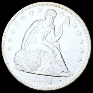 1872 Seated Silver Dollar NEARLY UNCIRCULATED