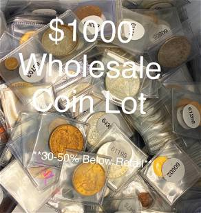 $1000 Wholesale Coin Lot Blowout Sale