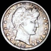 1908 Barber Silver Quarter XF