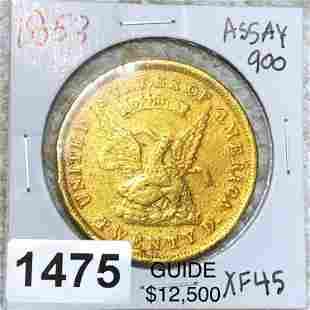1853 $20 Assay Gold Double Eagle LIGHT CIRC