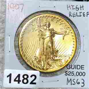1907 $20 High Relief Gold Double Eagle CH BU