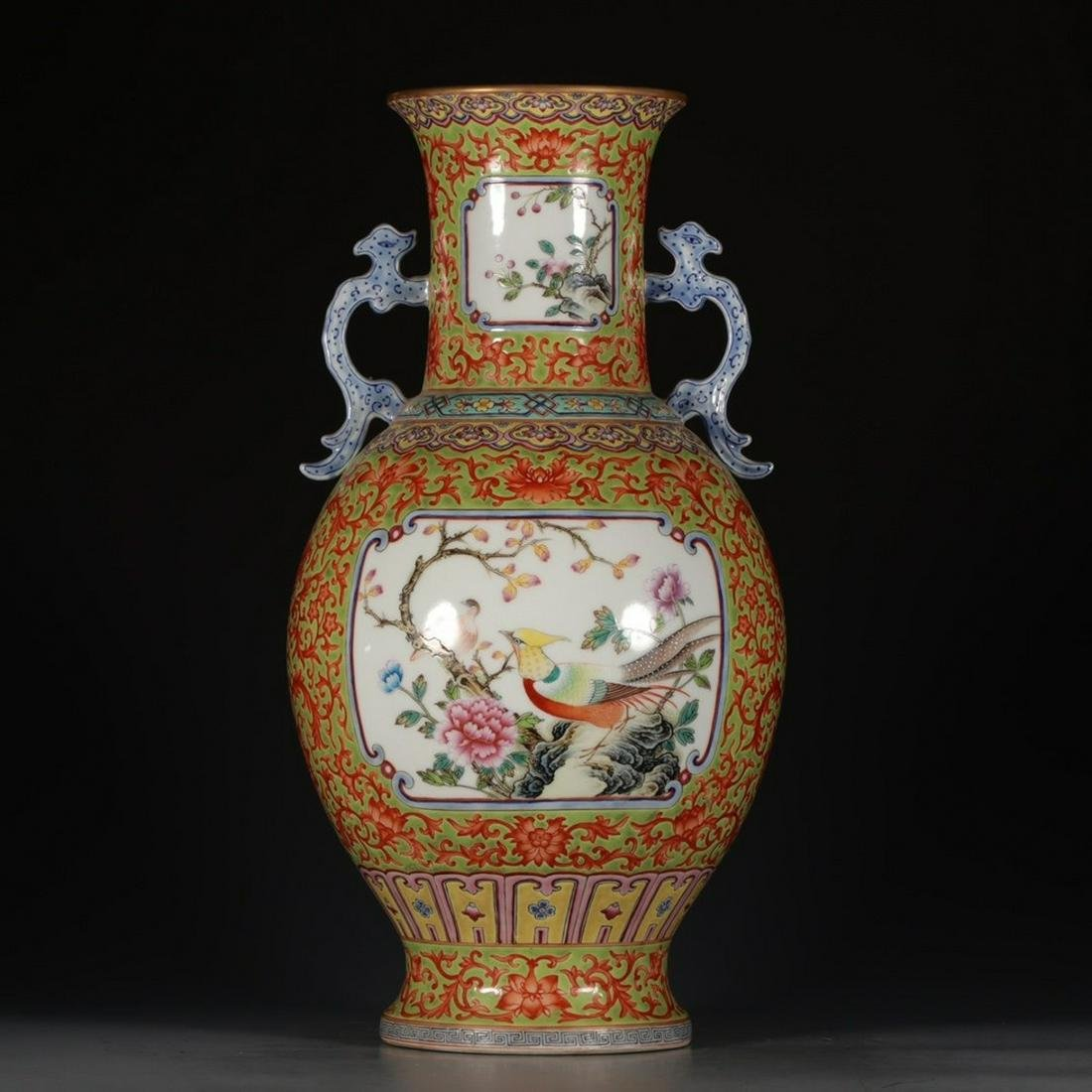 A Chinese Famille Rose Porcelain Double Ears Vase