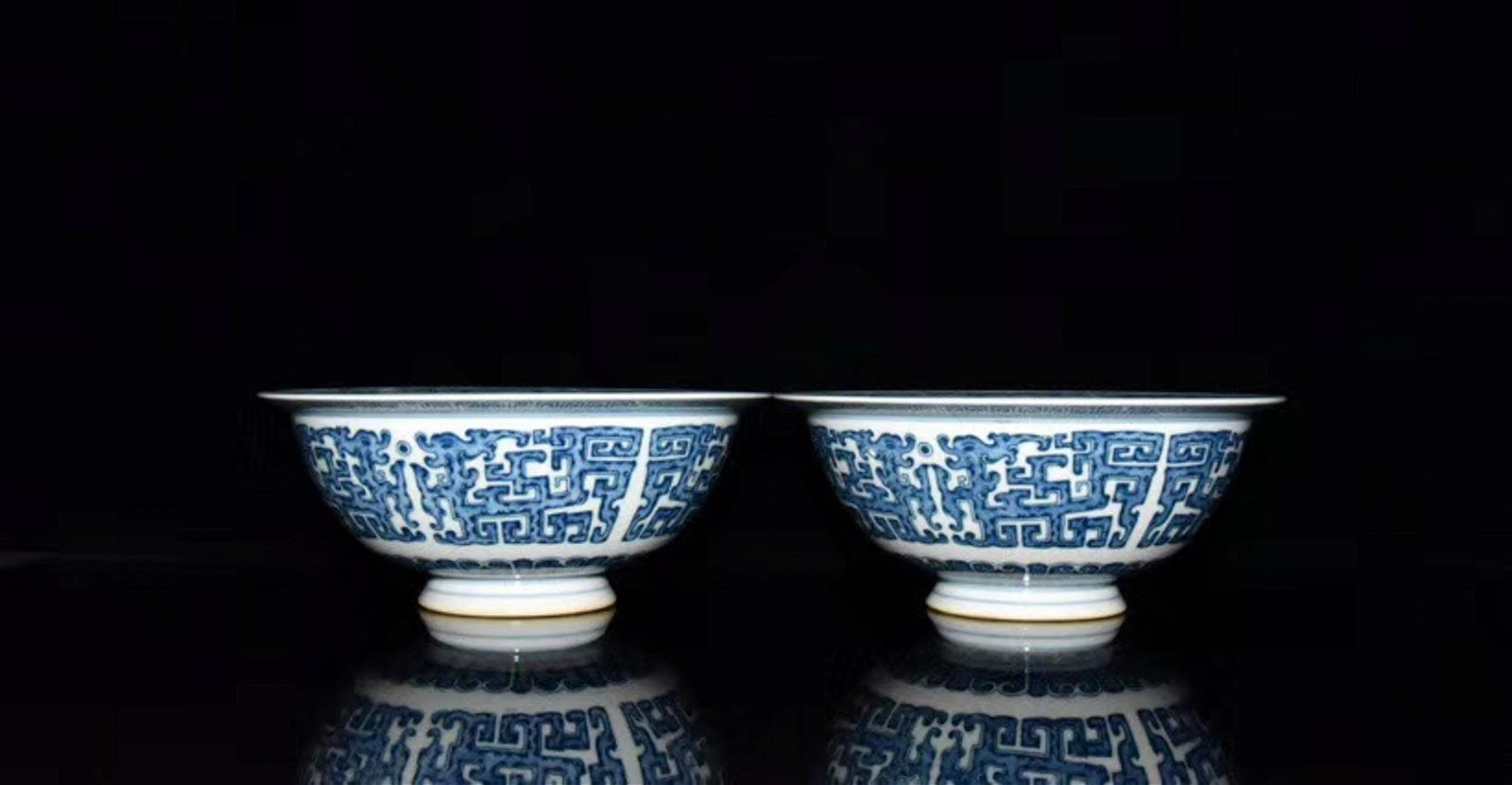 A Pair of Chinese Blue and White Floral Porcelain Bowl