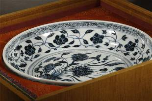 Blue and White Lotus Pattern Plate