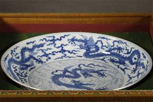 Blue and White Dragon Pattern Plate