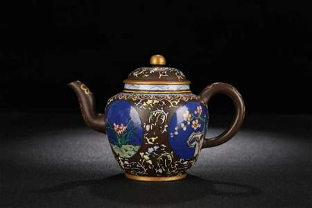 A Zisha Teapot With Painting