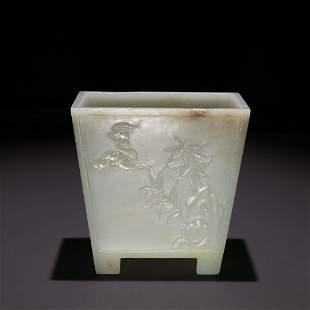A Hetian Jade Brush Pot