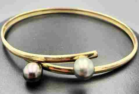 18k yellow gold bracelet w/ two 7.4mm pearls 18k yellow