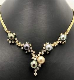 18k yellow gold necklace w/ 2.46ct diamonds & 6  9 18k