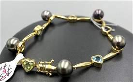 18k yellow gold bracelet w 5 semi precious stones 18k