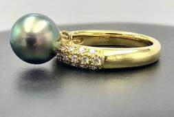 18k yellow gold size 6 ring w 84mm black pearl 18k