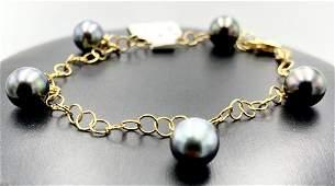 18k yellow gold bracelet w 5 black pearls 7477 18k
