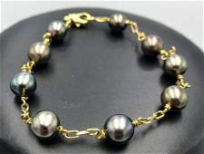 18k yellow gold bracelet w nine 70mm 74mm blac 18k