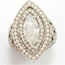 4.25 Carat Diamond & 18k WG Filigree Ring
