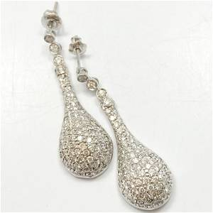 3 Carat Diamond & 14k White Gold Teardrop Earrings