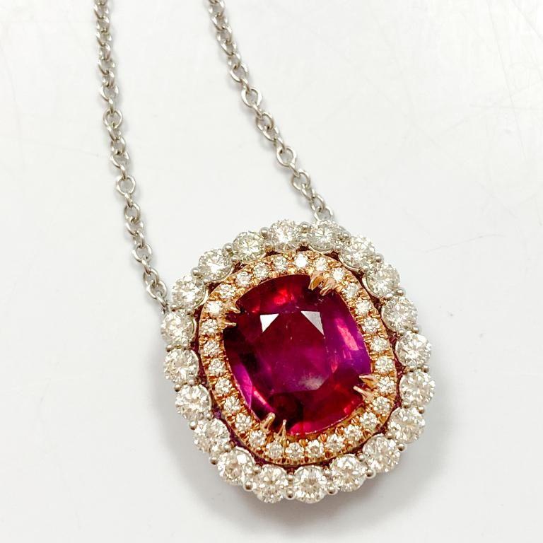 6.5 Carat Ruby & Diamond 18k Necklace