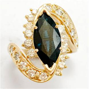 4.25 CT Sapphire & Diamond 18k Ring