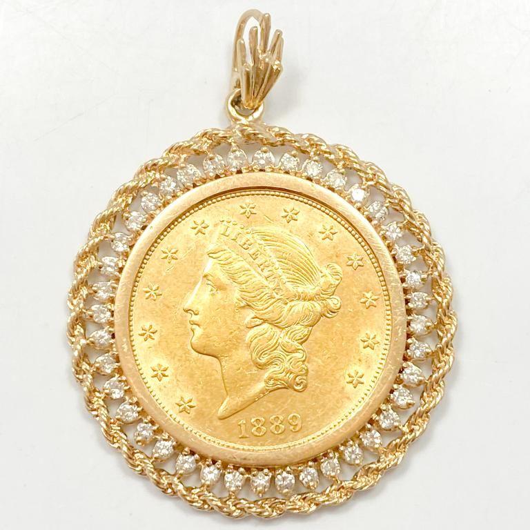 1889-S $20 Gold Coin & 2 Carat Diamond Pendant