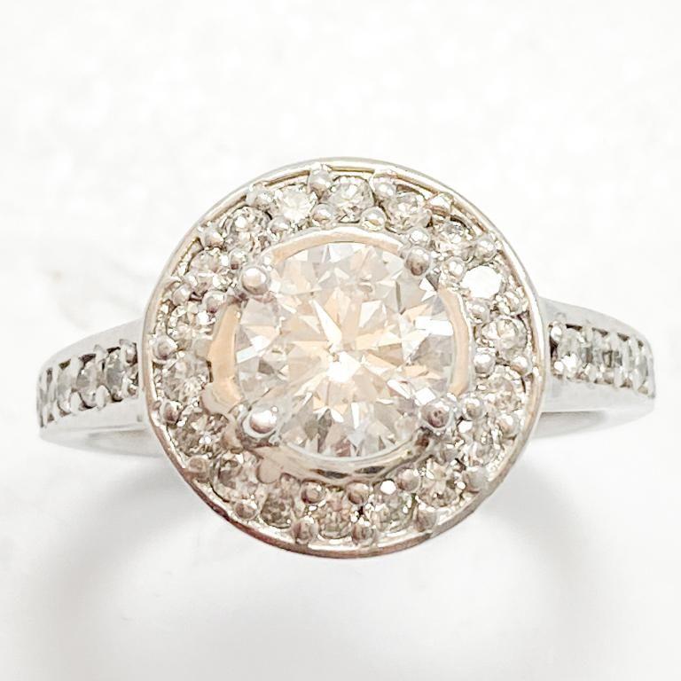 2 Carat Diamond & 14k White Gold Halo Ring