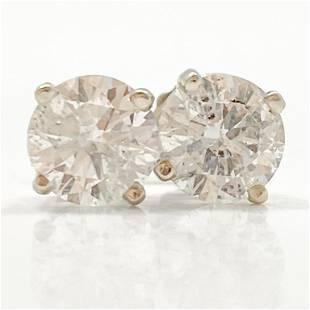 2.08 Carat Diamond & 14k White Gold Stud Earrings